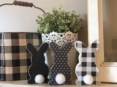 Your place to buy and sell all things handmade Easter bunny farmhouse decor Easter decor buffalo check Diy Spring, Spring Crafts, Holiday Crafts, Holiday Fun, Christmas Ideas, Easter Projects, Easter Crafts For Kids, Easter Ideas, Spring Projects