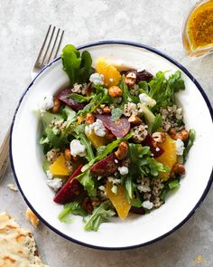 Beet, goat cheese, and quinoa salad with curry vinaigrette #vegetarian #soyfree #recipe