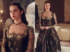 "In the episode 2x17 (""Tempting Fate"") Mary wears this utterly amazing Reign Costumes custom printed silk-brocade embellished gown.Worn with a Rabbitwood & Reason tiara, Gillian Steinhardt labyrinth and signet rings."