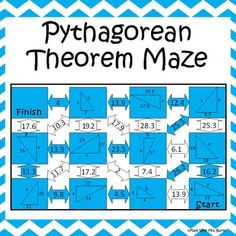 This self-checking maze has 11 problems involving the Pythagorean Theorem. Students will be required to use the Pythagorean Theorem to solve for the missing leg or hypotenuse of right triangles. Answer key is included for easy checking. If you enjoy this product please explore some of my others: Geometric Mean Task Cards Linear Transformations Foldable Midpoint, Distance, and Slope Task Cards SOH-CAH-TOA Solve It Inequalities with Variables on Both Sides Maze