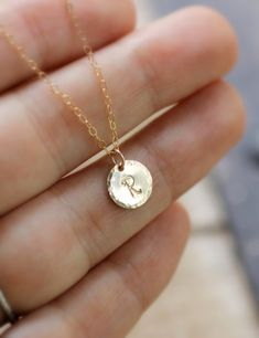 Tiny Gold Initial Necklace Hammered Edge Circle by LRoseDesigns, $30.00