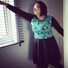 This fab skater style dress is made with super cat jersey fabric and I love it! The pattern is from Patterns for Pirates it's the sweetheart dress. The fabric is from Kitschy Coo and Sew Busy Fleet.