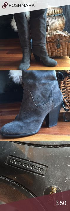"""Excellent Condition Vince Camuto Suede Boots You'll love these stylish Vince Camuto suede boots. Beautiful charcoal gray color, knee high; or they can be worn slouchy. Comfortable 3 1/2"""" heel, 17"""" shaft, 15"""" calf width. The boots are in excellent condition, very gently worn, only visible wear is normal wear to the soles. I just have too many boots, somethings have gotta go. 🚫No Trades/PayPal🚫 Vince Camuto Shoes Heeled Boots"""