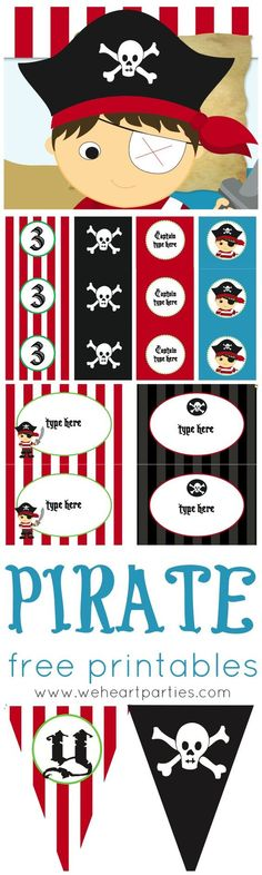 Pirate Party Printables (editable with child's name and age too!)Free Pirate Party Printables (editable with child's name and age too! Pirate Day, Pirate Birthday, Pirate Theme, Boy Birthday, Birthday Cupcakes, Pirate Party Games, Party Printables, Free Printables, Easter Printables