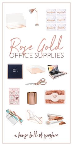 Rose gold office supplies ADORE Rose gold office supplies If you've been crushing over pretty office spaces with rose gold accessories, here's how you can create your own feminine and beautiful workspace! Gold Office Supplies, Gold Office Decor, Rose Gold Room Decor, Rose Gold Rooms, Rose Gold Accessories, Office Desk Accessories, Best Home Office Desk, Study Room Decor, My New Room