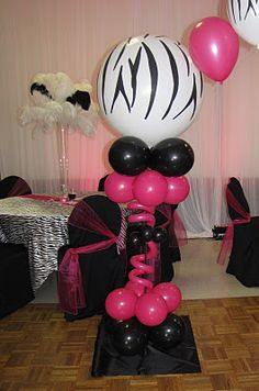 Party People Celebration Company - Special Event Decor Custom Balloon decor and Fabric Designs: Zebra Sweet 16 Dance Canopy, Tampa Florida