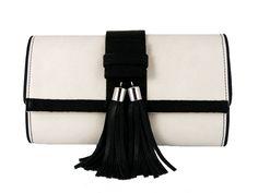 Black and White Tasseled 'Lauren' Small Shoulder Bag