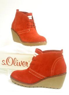 4875 s.Oliver TREND Leather Boots with wedge heels chili red: Amazon.co.uk: Shoes & Accessories