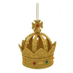 This glittery gold crown with red, yellow and green 'gems' will make your Christmas tree look regal and luxurious. Christmas Tree Decorations Items, Felt Decorations, Christmas Ornaments To Make, Gold Crown, Crown Jewels, Crown Decor, Royal Christmas, Online Gift Shop, Inspirational Gifts