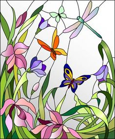 Stained glass window with flowers and butterflies - Witraże świeckie Stained Glass Paint, Stained Glass Flowers, Stained Glass Designs, Stained Glass Panels, Stained Glass Projects, Stained Glass Patterns, Stain Glass Cross, L'art Du Vitrail, Wal Art