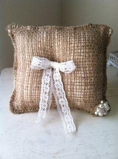 Burlap ring bearer pillow with vintage crystal and pearl gem on Etsy, $12.50