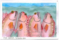 Does a postmark ruin a piece of mail art?  One of the postcards I received for the coming Pink Week show included this watercolor postcard of rockfish from Sooz Chambers.  Between here and Oregon the USPS never postmarked the stamp yet the postmark runs, upside down, across the painting.  I know some of you might think it was ruined and even the artist may be displeased.  But for me, in this example, it sort of enhances the piece as genuine mail art.