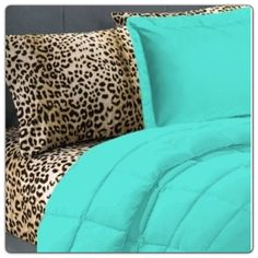 Animal print teal bed spread