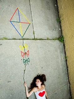 Absolutely amazing photo idea for #Theta. Draw a kite on the ground and take a picture from above so it looks like you are flying a kite. #KAT