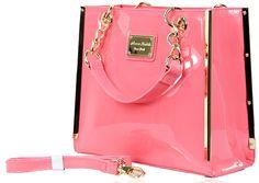7c56610ec4 Beautiful Designer Anna Smith Classy Ladies PU Leather Tote Handbag  Shoulder Bag A7585B - Pink