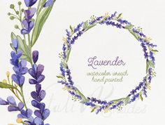 Watercolor wreath with Lavender Flowers. Hand painted Watercolor Digital Clipart