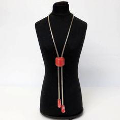 Lange Schieberkette/ Necklace v. JAKOB BENGEL 30er ART DECO flamingofarben