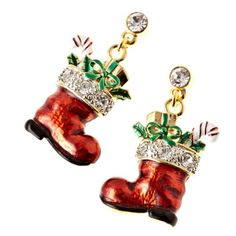 Christmas Jewelry Red Sock Presents Gold Tone « Blast Gifts