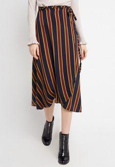 Mineola Wrap Stripe Skirt Navy