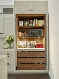 Breakfast / Pantry Cabinet With Shelf Lighting, Power Supply For Small  Appliances And Worktop.