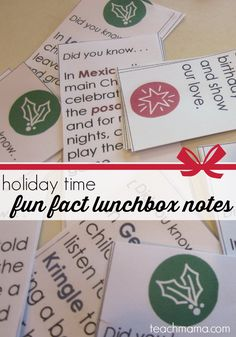 holiday time fun fact lunchbox notes | teachmama.com | LOOOOOVE using holiday time as a sneaky way to get kids reading and learning!