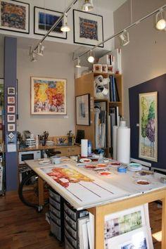 Really nice workspace. David Castle watercolor studio