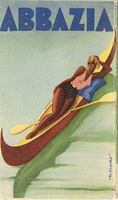 Abbazia, 1936 vintage travel poster for Venice, Italy. Vintage Beach Posters, Vintage Italian Posters, Poster Vintage, Tourism Poster, Poster Ads, Vintage Advertisements, Vintage Ads, Art Deco Posters, Travel Brochure