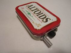 Mint Tin Pocket Guitar Amp, Headphone Amp, MP3 Amp w/ Speaker, Volume Control, & 10X Gain (Peppermint Altoids). $35.00, via Etsy.