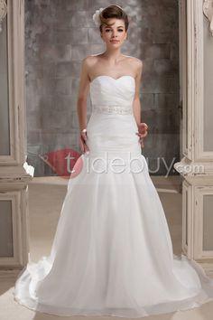 素晴らしいトランペット/マーメイドライン床まで長さスイートハートネックビーズ付きチャペルウェディングドレス