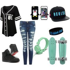 A fashion look from May 2015 featuring oversized button down shirt, skinny fit denim jeans and rubber bangles. Browse and shop related looks. Skater Girl Style, Skater Girl Outfits, Lazy Day Outfits, Teen Girl Outfits, Tomboy Outfits, Skater Girls, Outfits For Teens, Cool Outfits, Dress Outfits