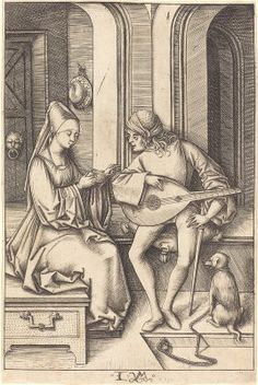 Meckenem, Israhel van German, c. 1445 - 1503 The Lute Player and the Singer c. Ancient Music, Medieval Music, Medieval Life, Renaissance, Early Music, Fine Art Prints, Canvas Prints, National Gallery Of Art, Art Institute Of Chicago