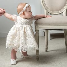 Poppy Baby Dress- Lace Baby Dress - Girls Blessing Dress - Flower Girl – Baby Beau and Belle