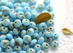 Easter blue Picasso Czech Glass beads Spacers faceted by MayaHoney