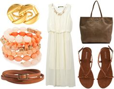 For class, belt your dress around the waist to dress it down. The addition of neutral brown makes the look more casual, so add matching braided sandals and a large brown beach tote. Accessorize with a beaded coral wrap bracelet and a fun, interlocking ring for a daytime look that's still elegant.