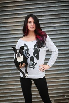 Women Boston Terrier Smile Grey Sweater Shirt Available in S-M-L-XL-2XL FREE shipping