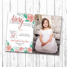 Custom LDS girl baptism invitation design