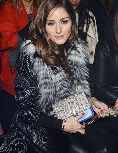 Olivia Palermo sat front row at Roberto Cavalli's Milan Fashion Week show today