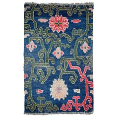 Antique Tibetan Rug Saddle Top With Lotus Flower Design | From a unique collection of antique and modern chinese and east asian rugs at http://www.1stdibs.com/furniture/rugs-carpets/chinese-rugs/