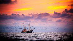 Nieuw in mijn Werk aan de Muur shop: Garnalenkotter voor de kust van Ameland