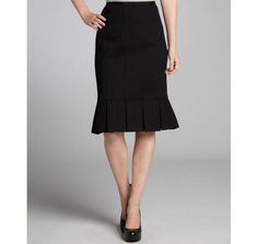 Nanette Lepore black stretch woven 'Sacada' pleated hem trumpet skirt