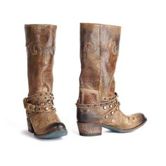Paradise Taupe distressed Leather western boots for women with studded straps over the instep. These boots have a round toe.