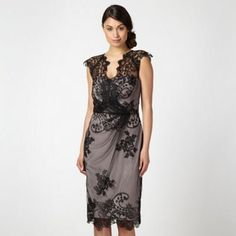 Make a distinctly glamorous statement at your next evening event in this striking black lace overlay dress from Debut. It features an elegant black mesh overlay over taupe lining with lace trims to the arms and a flattering cinched-in waist with ruching. Lace Overlay Dress, Debenhams, Black Mesh, Occasion Dresses, Formal Dresses, Wedding Dresses, Fashion Styles, Overlays, Lace Trim