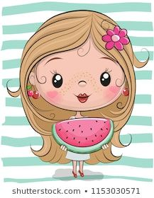 Cute cartoon girl with watermelon vector image on VectorStock Cartoon Cartoon, Cute Cartoon Girl, Cartoon Kunst, Cute Girl Face, Cartoon Drawings, Cute Drawings, Cartoon Characters, Cute Images, Cute Pictures