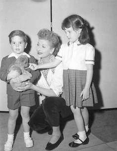 Lucille Ball with herchildren; Desi Jr. and Lucie Arnaz