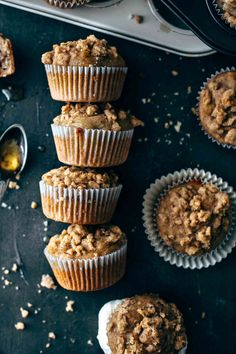 These super moist Banana Nut Muffins are topped with a cinnamon walnut streusel. Lots of fresh banana chunks and walnuts are packed into these muffins. Super easy to make! Muffins Blueberry, Banana Nut Muffins, Banana Nut Bread, Banana Recipes, Muffin Recipes, Cupcake Recipes, Dessert Recipes, Morning Glory Muffins, Donut Muffins