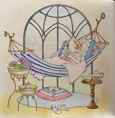 A relaxing afternoon nap 🍃🌿 Dream room coloring book by Chiaki Ida Afternoon Nap, Happy Things, Dream Rooms, Cute Drawings, Cute Art, Coloring Books, Princess Zelda, Illustrations, Nice