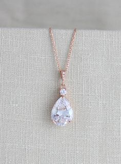 7588aa5d37f3 Rose Gold necklace Crystal Bridal necklace Wedding jewelry Bridesmaid  necklace Rose gold Wedding necklace Swarovski Crystal drop necklace