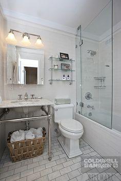 - Co-op Apartment Sale at Goodhue House in Murray Hill, Manhattan Bathroom Renovations, Bathroom Ideas, Bathrooms, Colonial, White Bathroom Tiles, Moldings And Trim, Barbie Dream House, Glass Shower Doors, Shower Floor