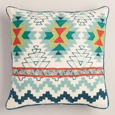 One of my favorite discoveries at WorldMarket.com: Blue Tribal Embroidered Throw Pillow