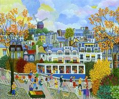Funiculaire de Montmartre by French Naive Artist Cellia Saubry Henri Rousseau, Figure Painting, Painting & Drawing, Jean Antoine Watteau, Primitive Painting, Pop Art, Cottage Art, Naive Art, Art For Art Sake